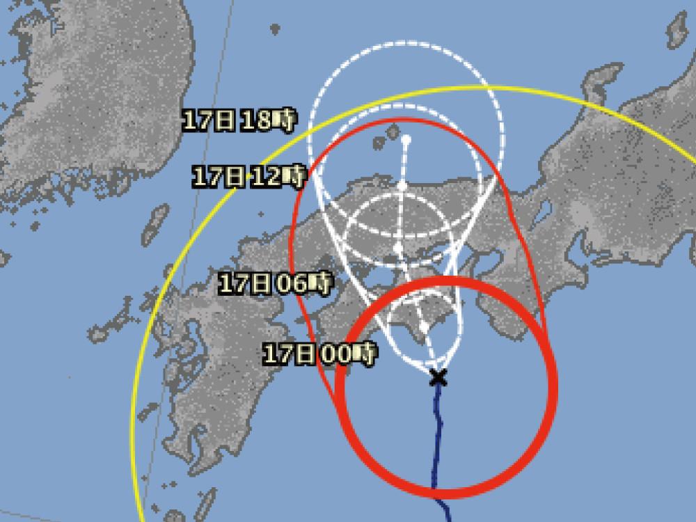台風11号接近で神戸市内11万人に避難準備情報が発令された模様。神戸市への最接近は17日(金)未明